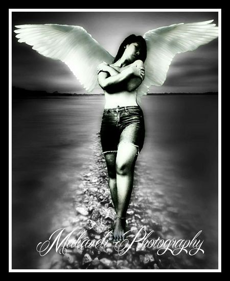 Simply an angel here on earth name Sheena EyeEmBestPics EyeEm Gallery Women Of EyeEm Photography The EyeEm Facebook Cover Challenge EyeEm Best Edits Angel Wings Black And White