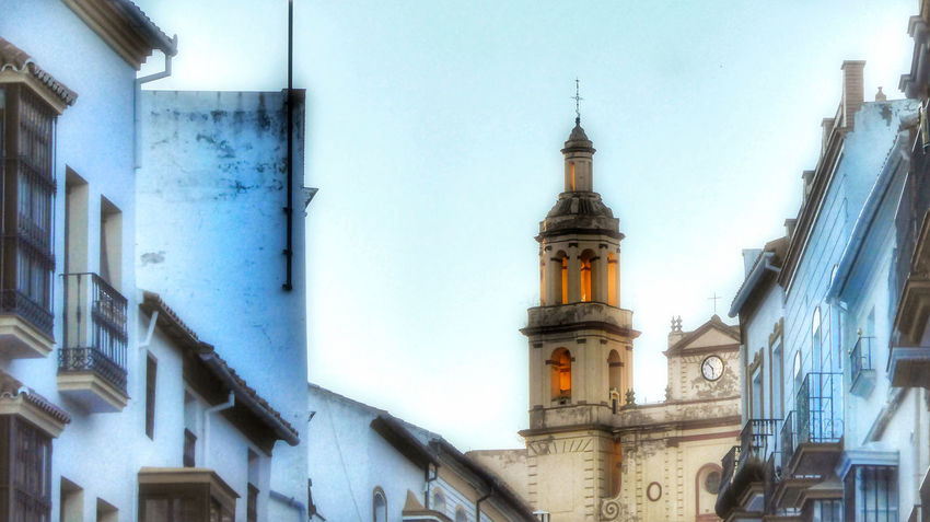 Olvera Sunset Chirch Olvera Spain Sunset Reflection Bell Tower - Tower Clock Tower Bell Spire  Old Town Cathedral