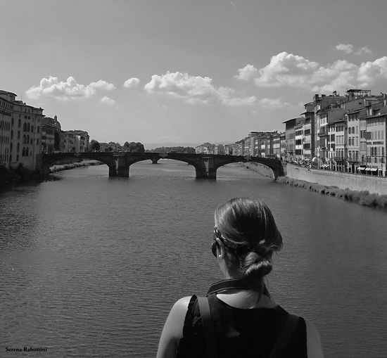 Tourist Monochrome Photography Black And White People Cityscape Blackandwhite River Italianplace Firenze
