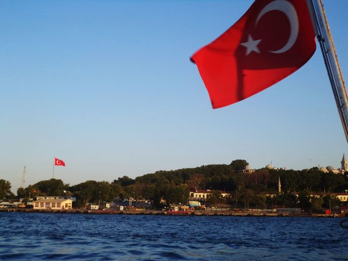 Istanbul Turkey Traveling Photography Travelling Travel Traveling Skies Sky From My Point Of View Channel Sea Turkish Flags Flags Flag Red Flags Red From The Channel Feel The Journey