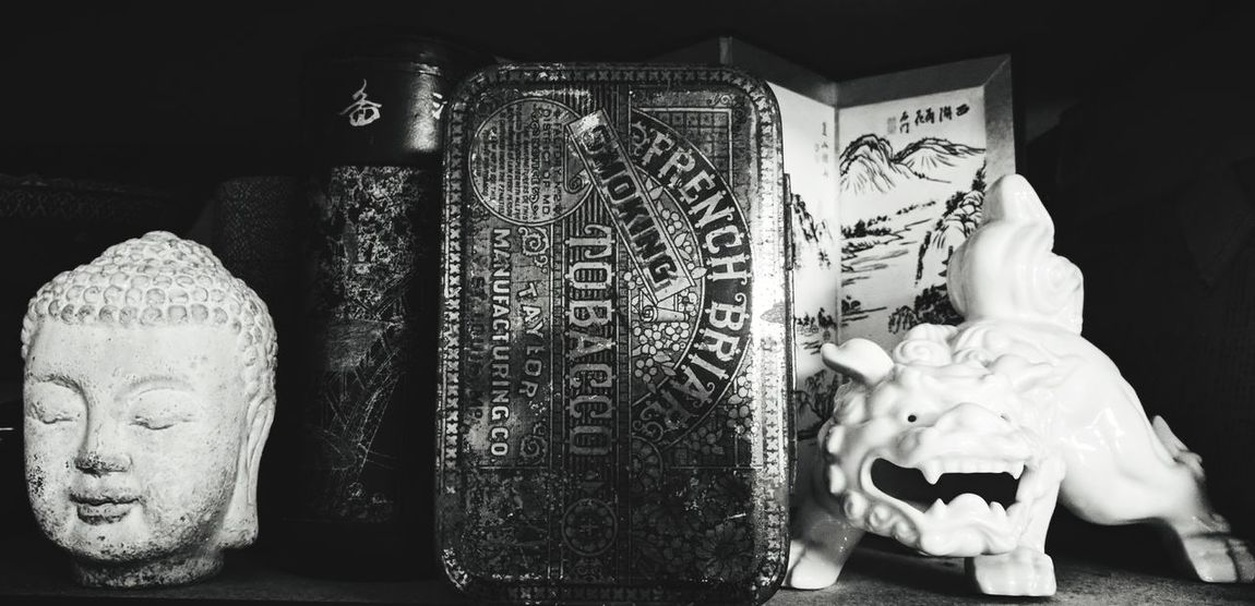 Indoors  No People Close-up Studio Shot Day Metal Black And White Monochrome Antique Textures And Surfaces Bobbles &trinkets