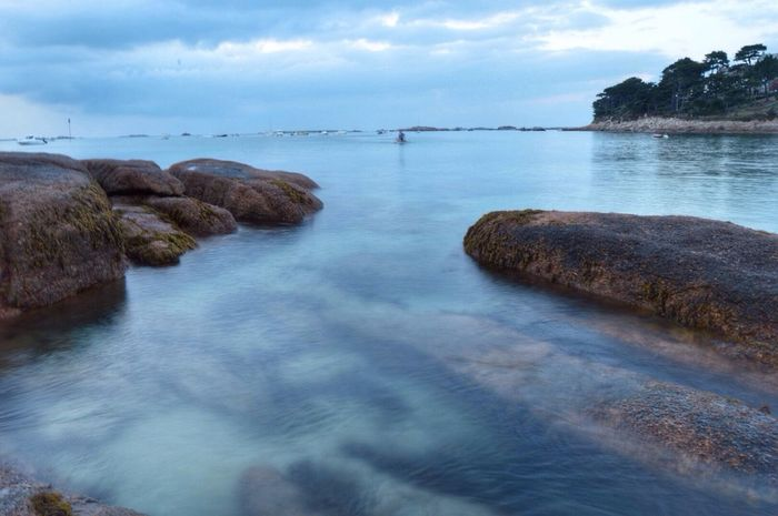 Water Tranquil Scene Tranquility Rock - Object Sea Sky Beauty In Nature Nature Cloud - Sky Bretagne Calm Ocean