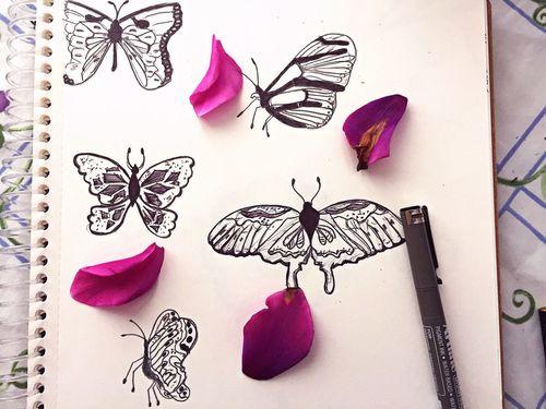 Art ArtWork Artline Sketch Sketchbook Butterfly Purple Purple Flower Flowers Drawing