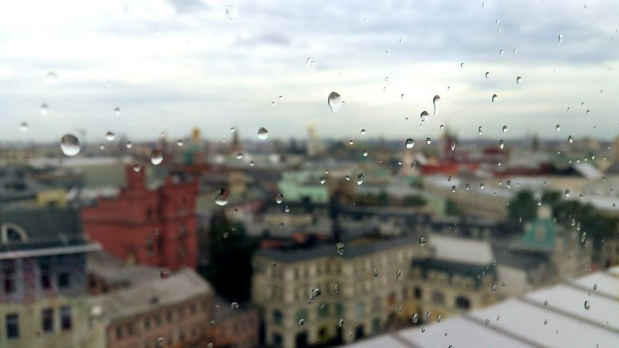 Rain drops Moscow Rooftop Raindrops Top View Blurred