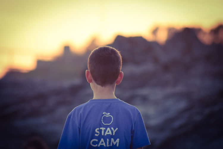 Rear view of boy standing against sky during sunset