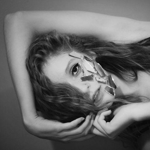 Black And White Self Portrait Girl Portrait