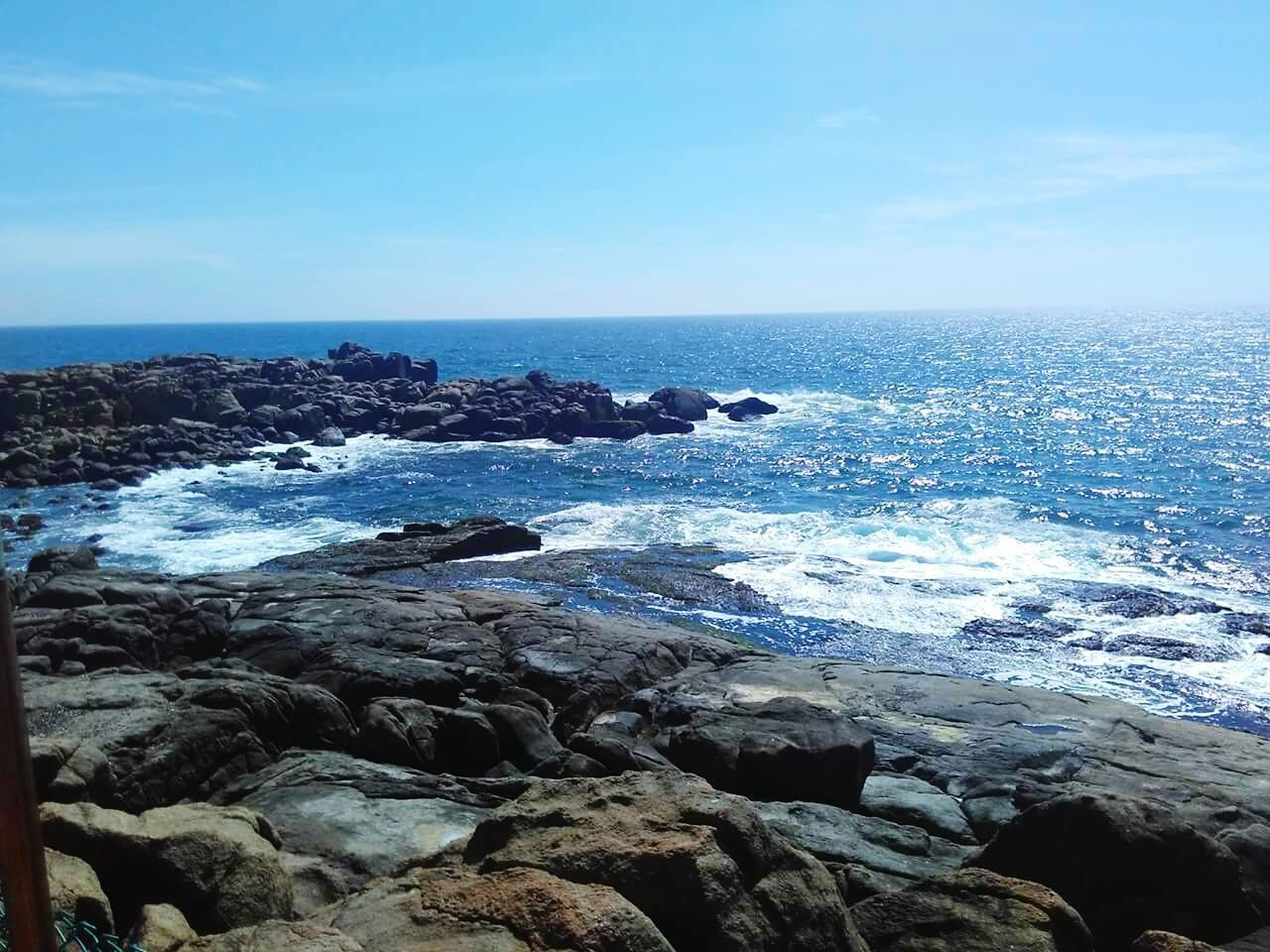 sea, horizon over water, nature, beauty in nature, water, scenics, rock - object, tranquil scene, outdoors, sky, tranquility, blue, no people, day, clear sky, beach