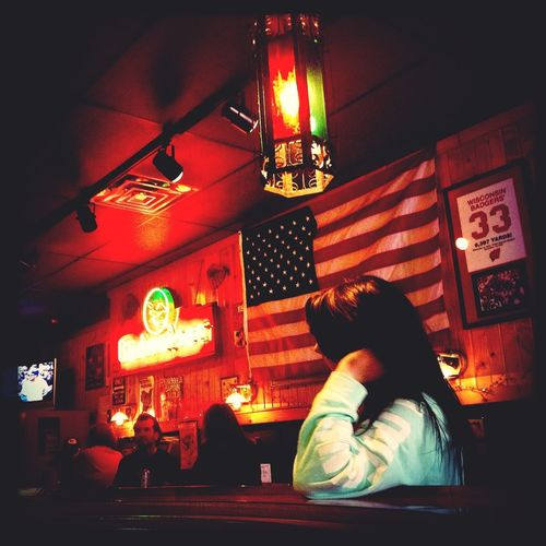 Hanging Out Drinking American Flag At The Bar