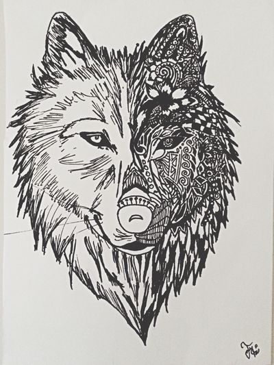 Wolf Drawing Gives My New Tattoo Made By My Sister*_*