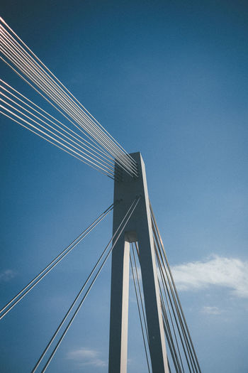 Sky Architecture Built Structure Low Angle View Bridge Bridge - Man Made Structure Engineering Blue Suspension Bridge Connection Cable-stayed Bridge Nature Cloud - Sky Day Cable Transportation Steel Cable Modern Copy Space Outdoors