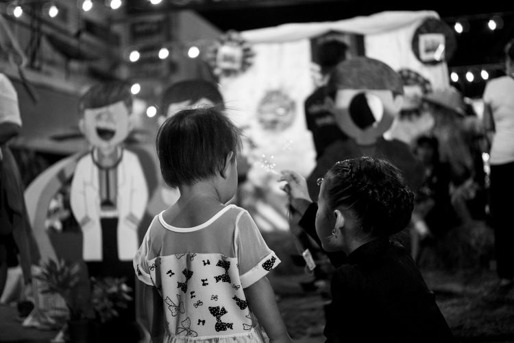 Arts Culture And Entertainment Blackandwhite Friendship Night People Rear View Streetphoto_bw Streetphotography Togetherness