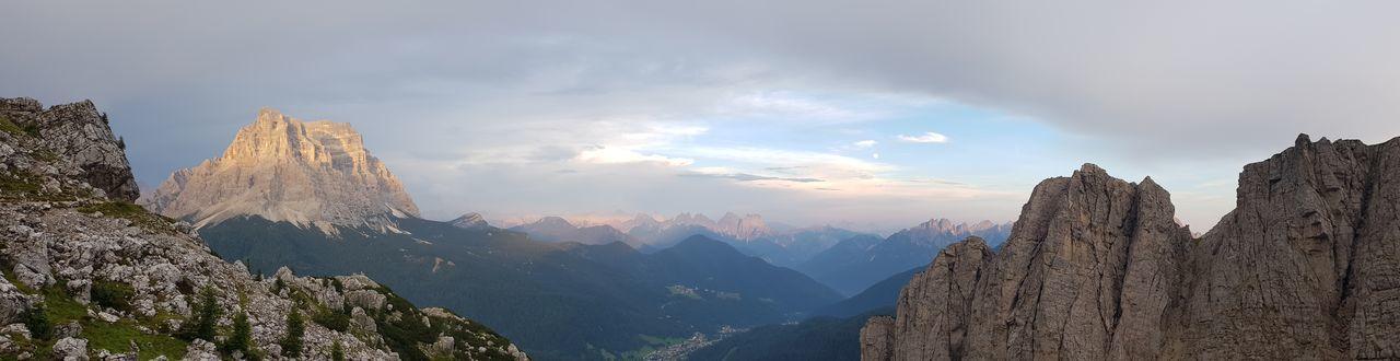 Dolomiti Italy Monte Pelmo Mountain Tree Forest Pinaceae Mountain Peak Pine Tree Panoramic Fog Sky Mountain Range