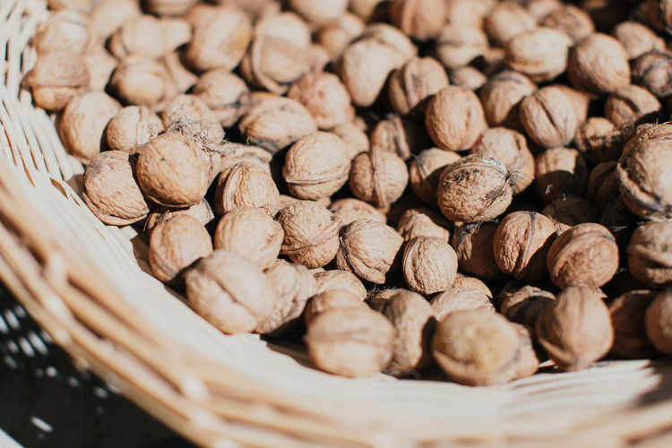 Close-up of walnuts in basket