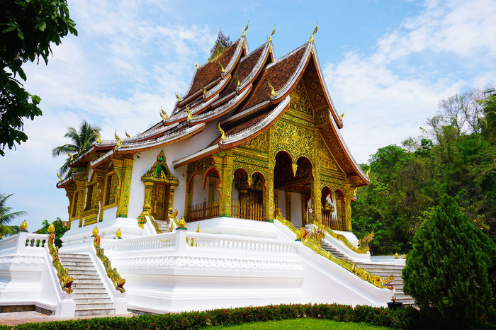 2017 Architecture Building Exterior Built Structure Day Gold Gold Gold Colored History Laos Luang Phabang Luang Prabang Museum National Museum Outdoors Place Of Worship Roof Sky Spirituality Tree World Heritage ラオス ルアンパバーン