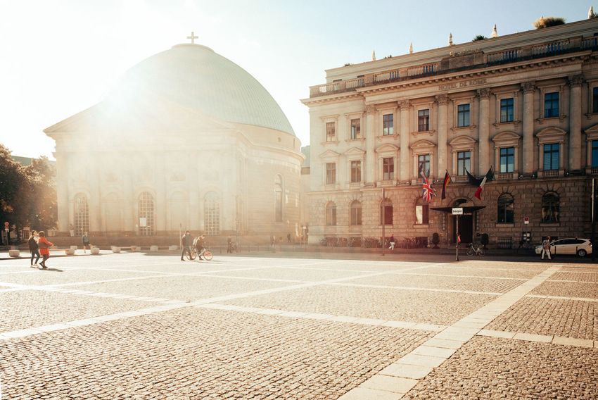 On a touristic place with the morning sunshine City City Life Morning Morning Light Place Summertime Architecture Berliner Ansichten Building Building Exterior Built Structure City Daylight Dome Façade History Outdoors Sky Street Summer Sunshine The Past Town Square Travel Destinations Urban