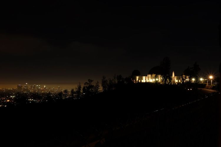 Cityscape Dark Griffith Park Observatory Landscape Los Angeles, California Sky