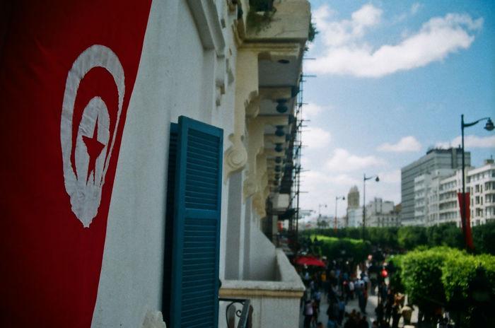 Avenue Bourguiba Balcony View Blue Sky Buildings Street Tunis Tunisian Flag View
