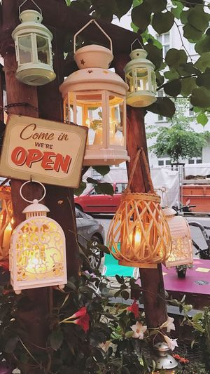 Summer Nights Sign Decor Lantern Restaurant Open No People Text Container Food And Drink For Sale Variation Choice Multi Colored Communication Still Life Retail  Arrangement Business Food Market