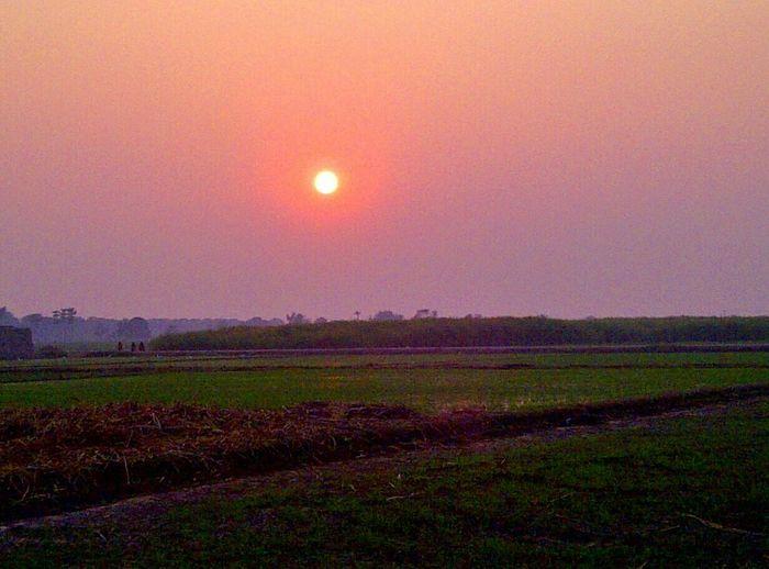 Sunset Village JalalpurKamlana Villagestory Shadows Trees