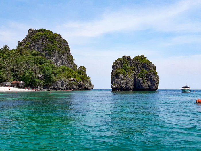 Sea of Chumphon Islands Bay Beauty In Nature Blue Day Idyllic Land Nature Nautical Vessel No People Outdoors Rock Rock - Object Rock Formation Scenics - Nature Sea Sky Solid Stack Rock Tranquil Scene Tranquility Turquoise Colored Water Waterfront