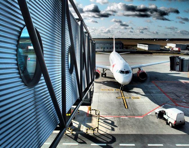 Airplane on airport runway