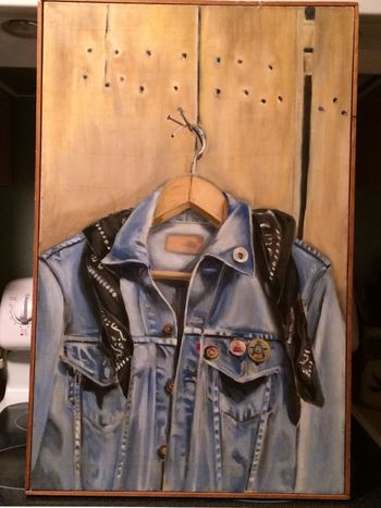 Denim Jacket Painting I did in 10th grade. We painted while listening to Pink Floyd. Oh I miss those days. Check This Out Oil Painting ArtWork Highschool Creativity Creative Photography Art, Drawing, Creativity