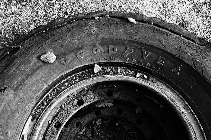 Tires Old Tires Rock Goodyear Worn Cracked