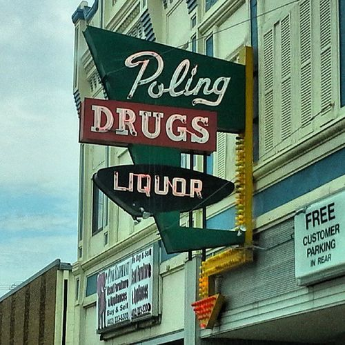 POLING Drug Neon Signs Beatrice Nebraska
