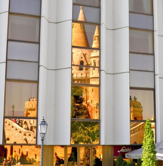 Reflection Mirror Image Converse Budapest Hungary Battlements Architecture Photography Europe Reflections Warm Honey Sunlight Color Architecture Symmetry