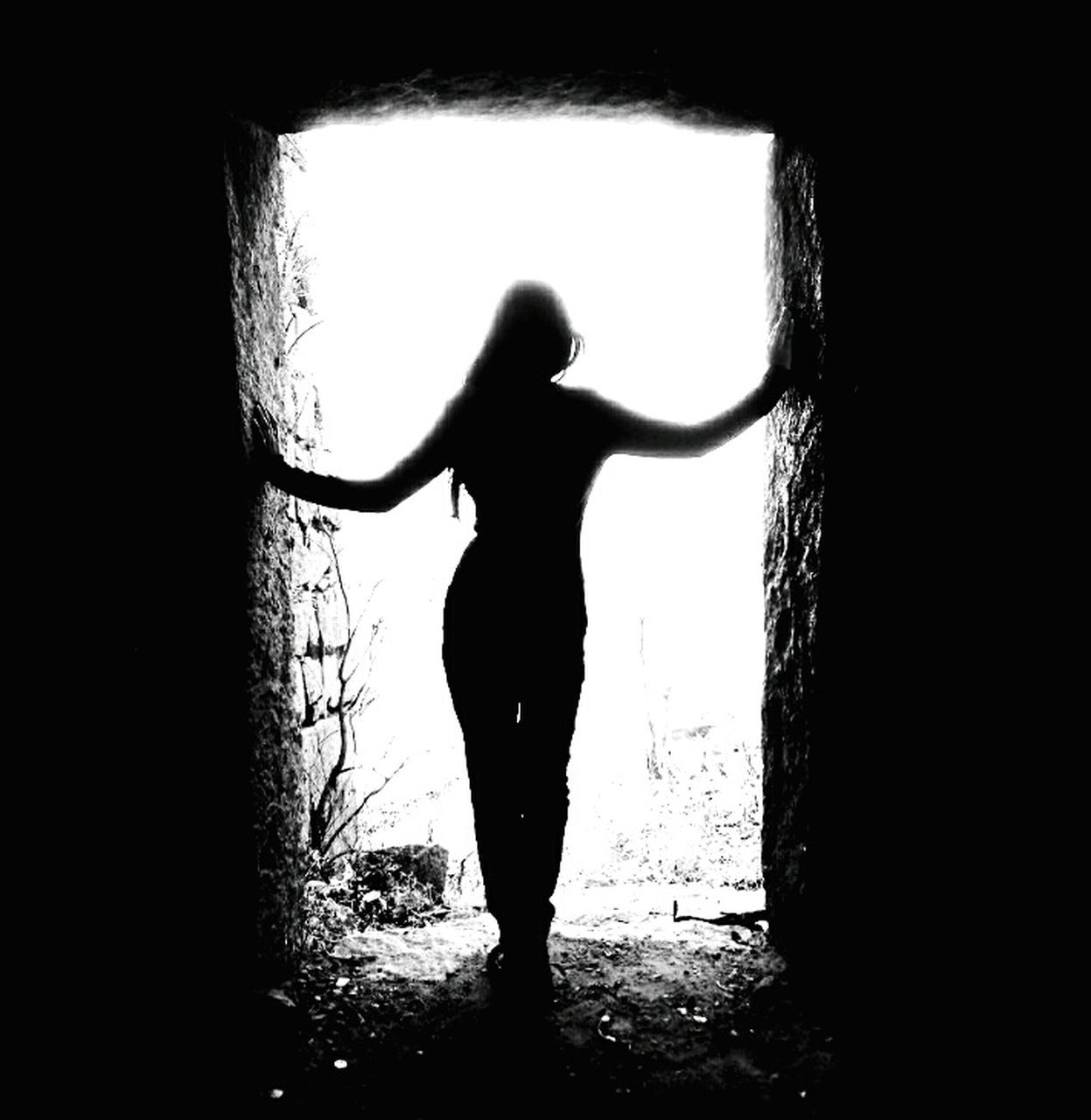silhouette, one person, full length, arms outstretched, standing, real people, women, indoors, day, adult, people