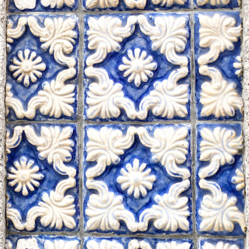 Pattern Full Frame Backgrounds Design Close-up Blue No People Art And Craft Tile Floral Pattern Craft Flooring Creativity Wall - Building Feature Indoors  Textured  Ceramics Ornate Repetition Tiled Floor Ceramic Tiles