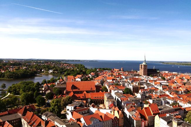 """""""Because when you stop for a minute and look around this life is amazing..."""" Weltkulturerbe Stralsund, Germany Stralsundmomente Stralsund Skyline Stralsund Neuer Markt Summertime St Marie Church Stralsund  Skyline Sea And Sky Baltic Sea EyeEm Selects City Cityscape Water Sea Clear Sky Beach Roof Blue Aerial View Horizon TOWNSCAPE Old Town Seascape Townhouse Rooftop Bell Tower Town Panoramic Be Brave My Best Travel Photo"""