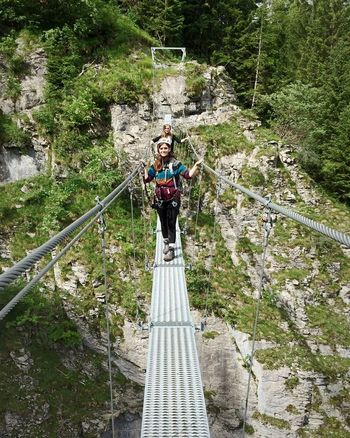 Go Higher Tree Young Women Full Length Portrait Happiness Looking At Camera Smiling RISK Adventure Suspension Bridge Climbing Equipment Steel Cable Cable-stayed Bridge