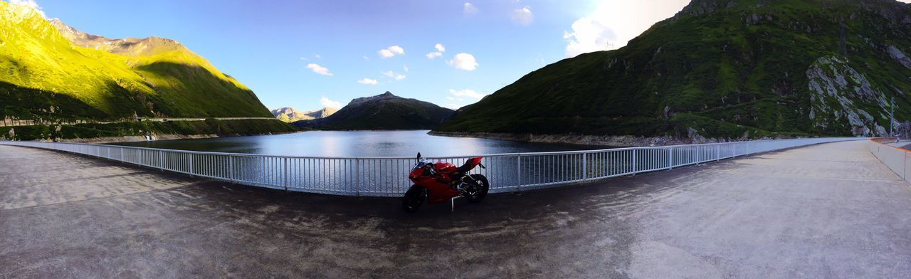 Ducati Panigale Mountain Mountain Range Beauty In Nature Nature Sky Lake Nautical Vessel Scenics Cloud - Sky Outdoors Water Landscape Day Vacations Adventure People