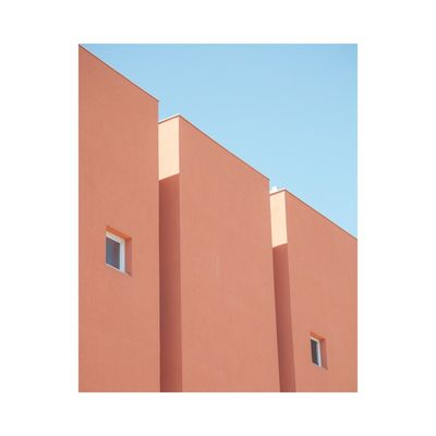Building Exterior Architecture Built Structure Day No People Blue Outdoors Graphic Geometric Shape Pastel Power Clear Sky City Contemporary Art Fine Art Photography Minimalism Façade Window Light And Shadow Natural Light