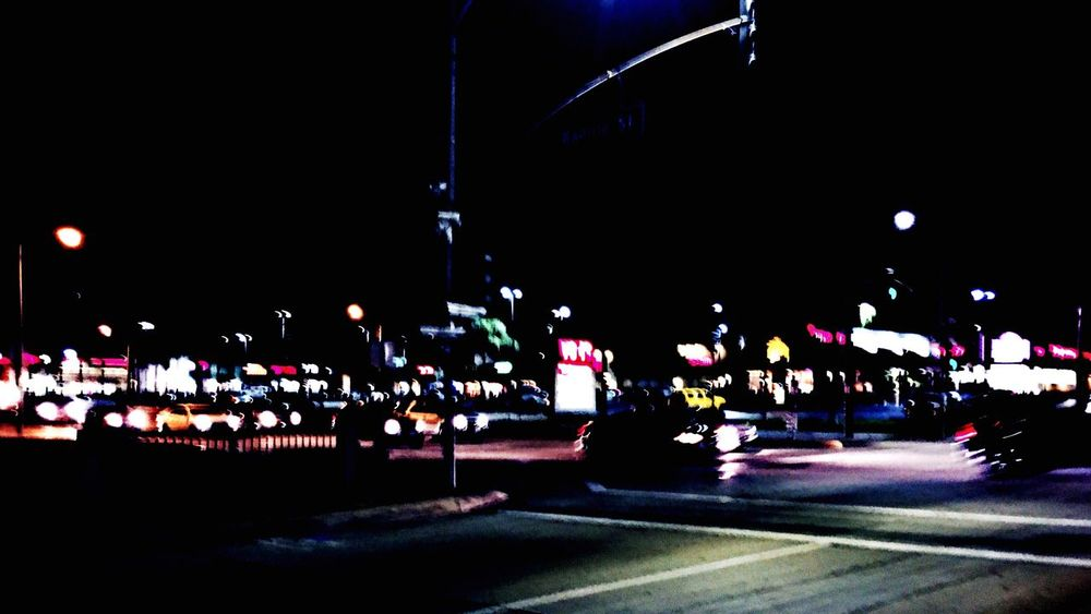Anytown USA Night Illuminated Outdoors Sky No People Traffic Lights Shopping Center Intersection Boring