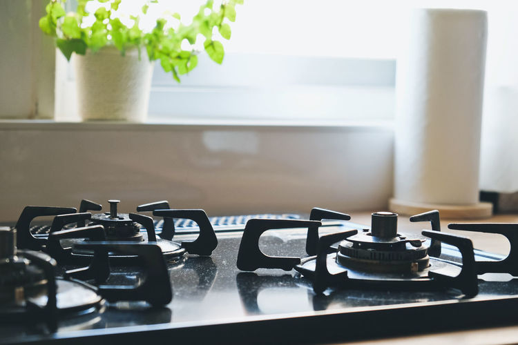 close up image of Gas stove in the kitchen,Interior of rural kitchen Cook  Cooking Close-up Cooked Day Food And Drink Gas Stove Gas Stove Burner Home Interior Indoors  Kitchen Kitchen Art No People Still Life Table