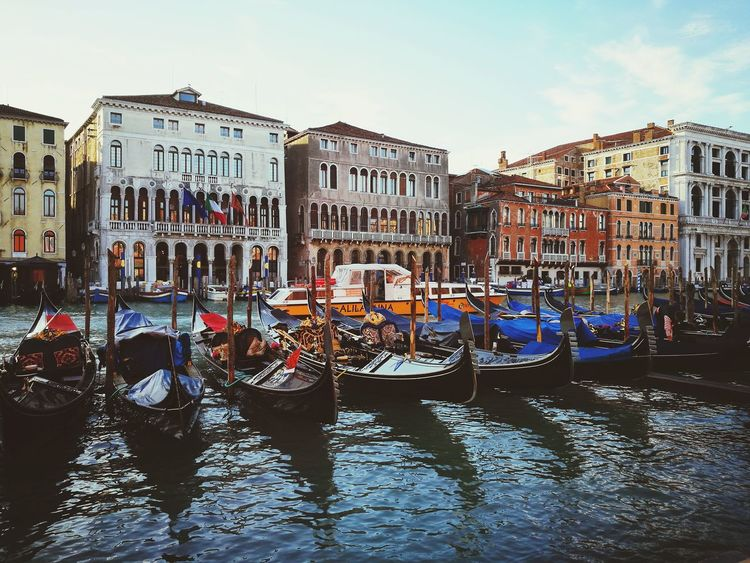 Gondola - Traditional Boat Water Crowd City Cityscape Cultures Sky Boat Canal Gondola Grand Canal - Venice Venice - Italy