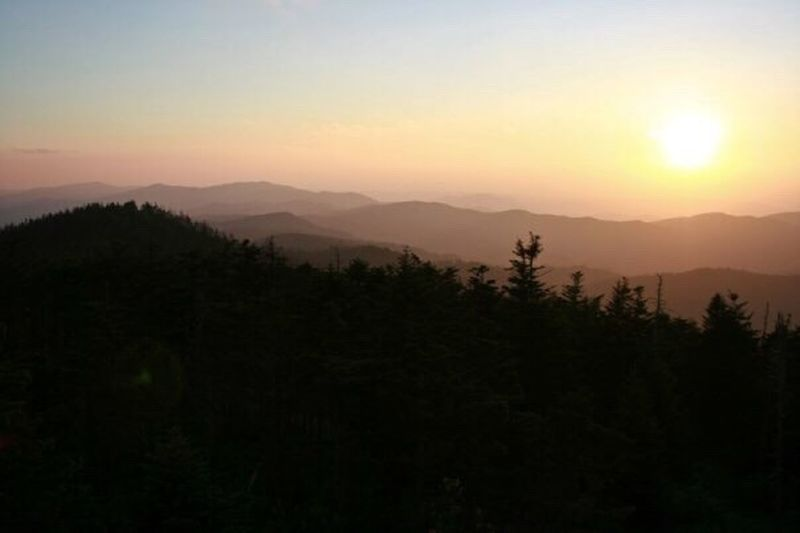 Sunset on Clingman's Dome. Sunset Clingmans Dome Sky And Clouds Mountains