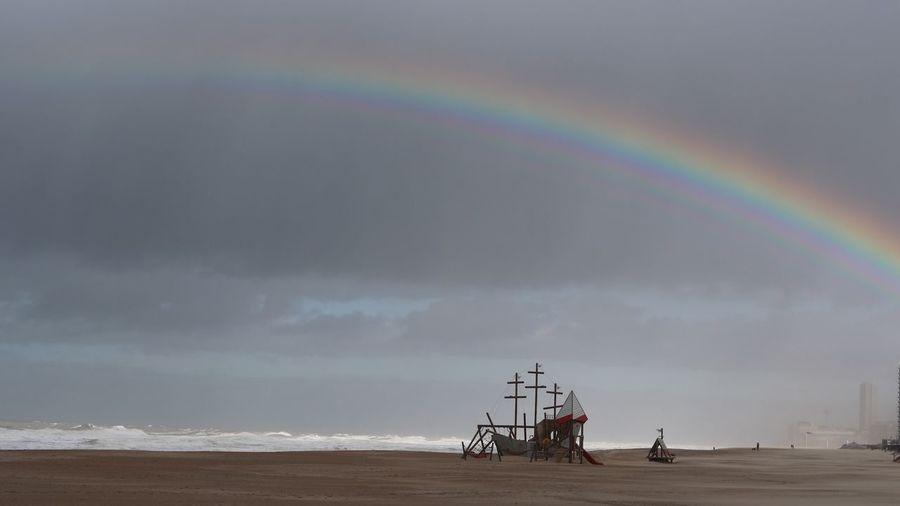 Land Sky Rainbow Scenics - Nature Beauty In Nature Beach Nature