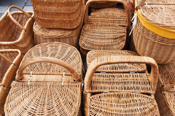 Basket Basketry Baskets Baskets Hand Made Brown Carrying Close-up Cover Day Domestic Life Grip Household Household Items Market No People Outdoors Packaging Picnic Basket Wicker Yellow
