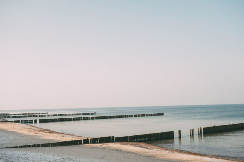 Ostsee Strand Winter Beach Beauty In Nature Clear Sky Cold Day Horizon Over Water Nature No People Outdoors Pier Sand Scenics Sea Sky Tranquil Scene Tranquility Water