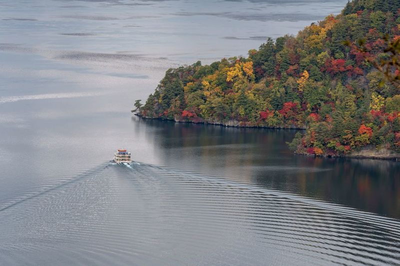 High angle view of boat cruising in lake