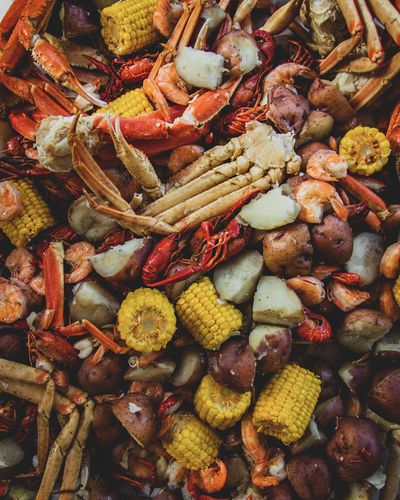 Overhead shot of the food at a low country crab and crawfish boil