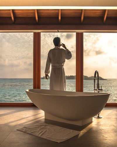 Thinking of ..... Bathroom Selfie Bathroom Sun Ocean Planet Earth Scenics - Nature Beauty In Nature People Standing Men Adult Travel Horizon Horizon Over Water Mode Of Transportation Travel Destinations Outdoors Looking At View