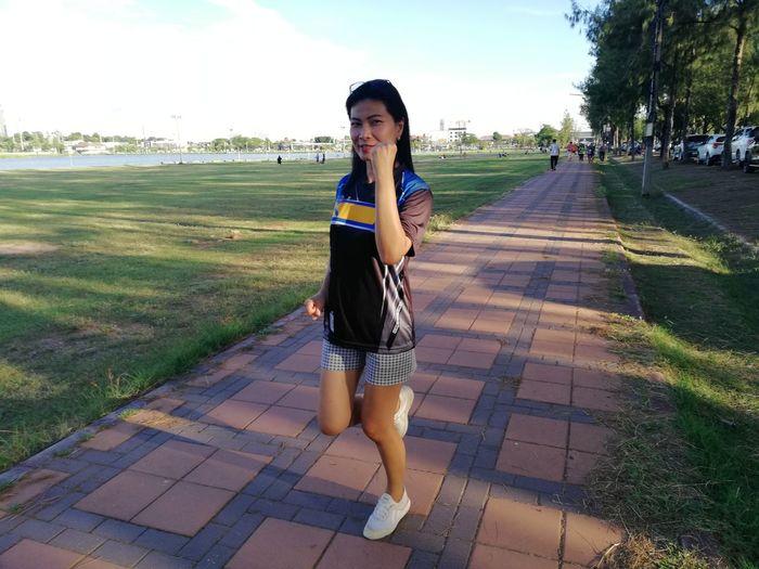 Jogging JiraOn🌏 Young Women Portrait Beautiful Woman Standing Full Length Tree Denim Jacket Sky Grass Sundress Posing