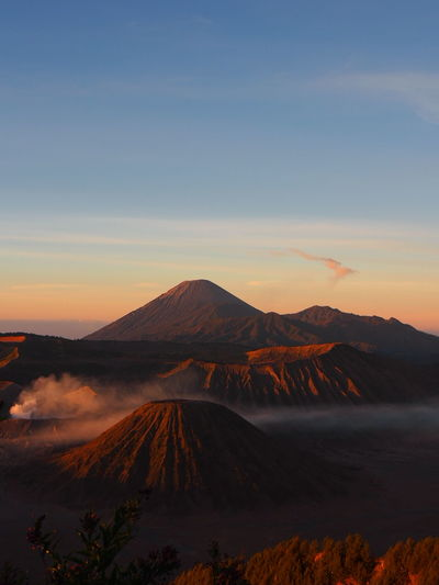 Scenic View Of Mt Bromo Against Sky During Sunset