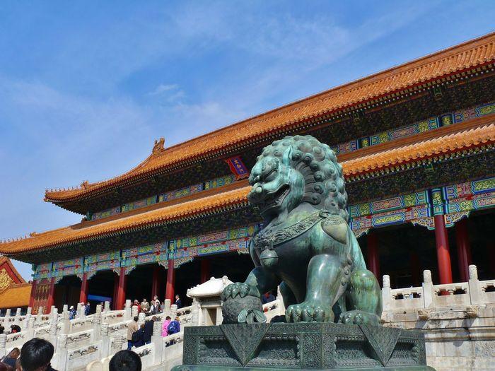 Lion statue outside a temple
