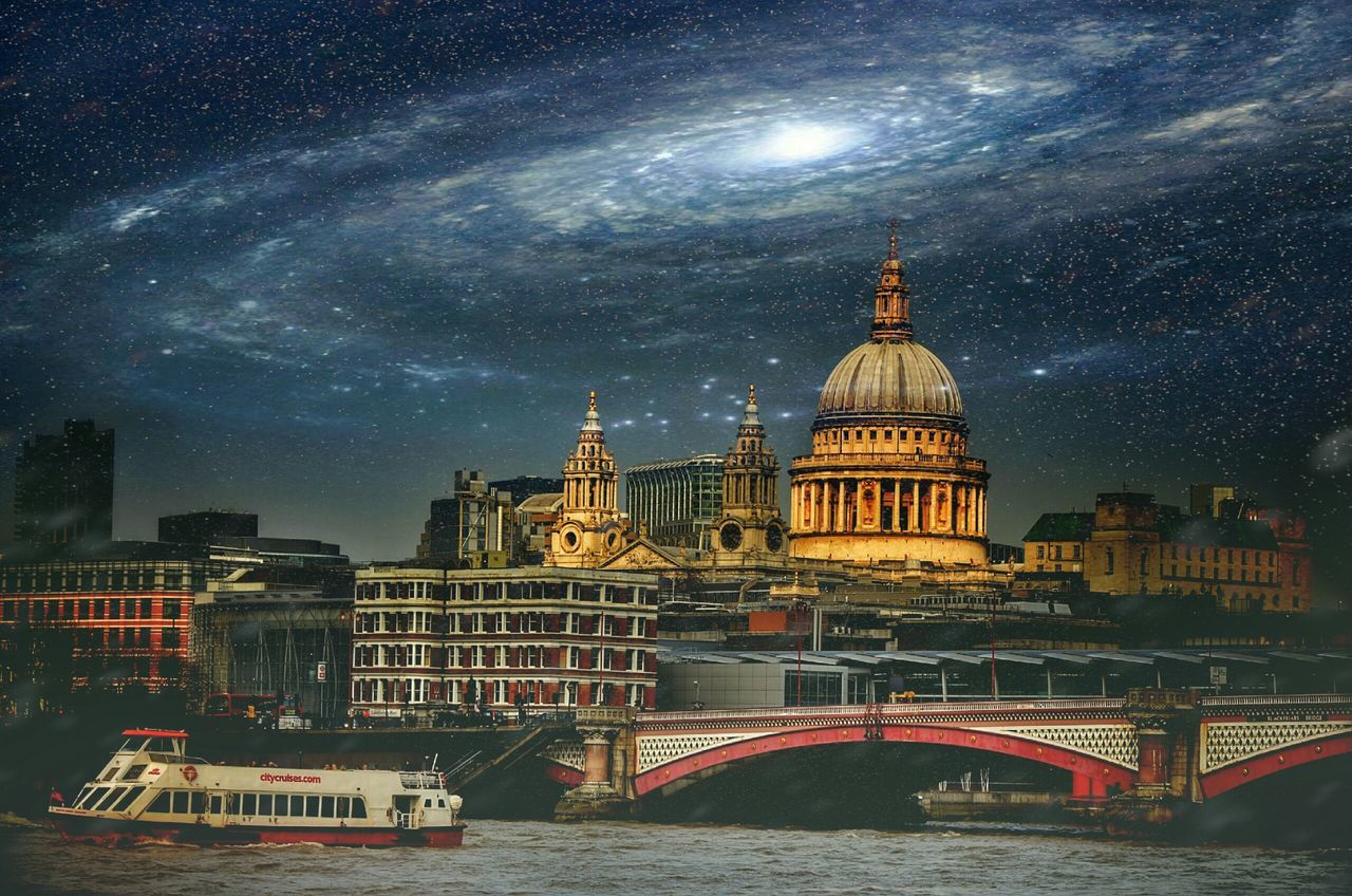 dome, architecture, built structure, religion, place of worship, sky, building exterior, spirituality, night, cloud - sky, travel destinations, outdoors, river, water, transportation, no people, illuminated, nautical vessel, nature, city