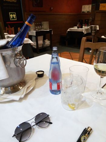 Chair Day Ice Ice Bucket Indoors  Lighter No People Resturant Sparkling Water Sunglasses Table Wine